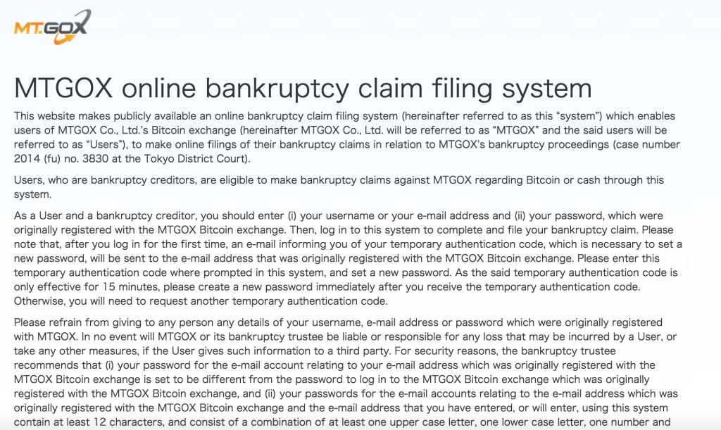 Customers Can Now File Claims For Lost Bitcoins Against Mt. Gox