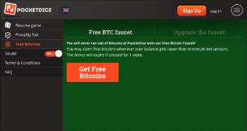 PocketDice Free BTC Faucet