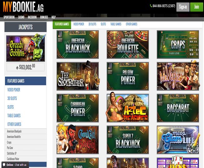 MyBookie Casino Games